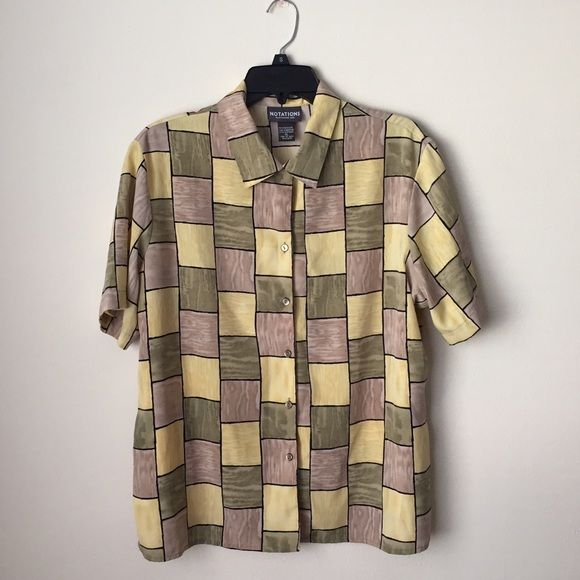 Notations Vintage Shirt  Lightly worn, in good condition  100% polyester  True to size Comes from smoke & pet free home  FAST shipper ⚡️same day or next day depending on when you order NO Trading, NO Holds  Bundling Available Notations Tops