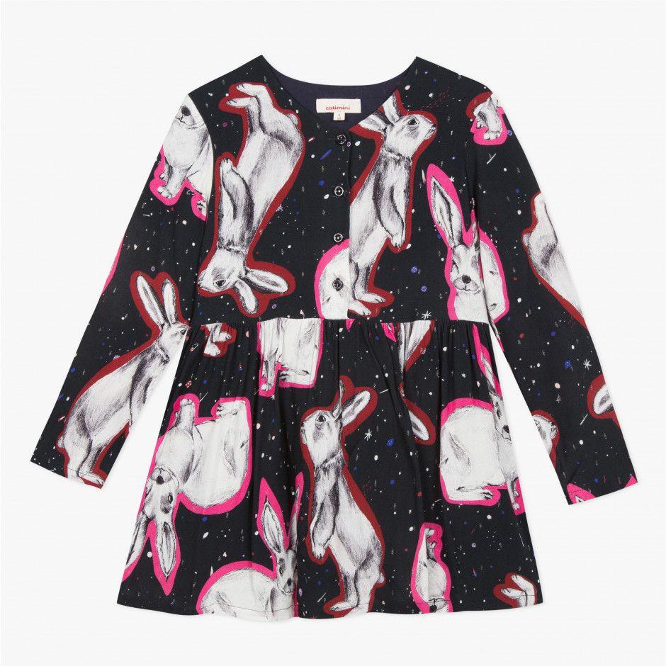 Robe Viscose Imprime Lapins Minuit Fille Du Catimini Robes Soldes Robe Manche Longue Catimini