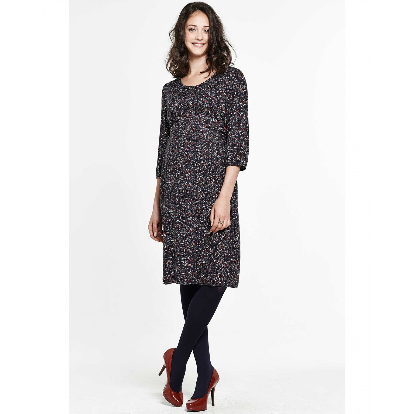 V neck maternity dress 34 sleeve with floral print solenn de v neck maternity dress 34 sleeve with floral print solenn de ombrellifo Gallery