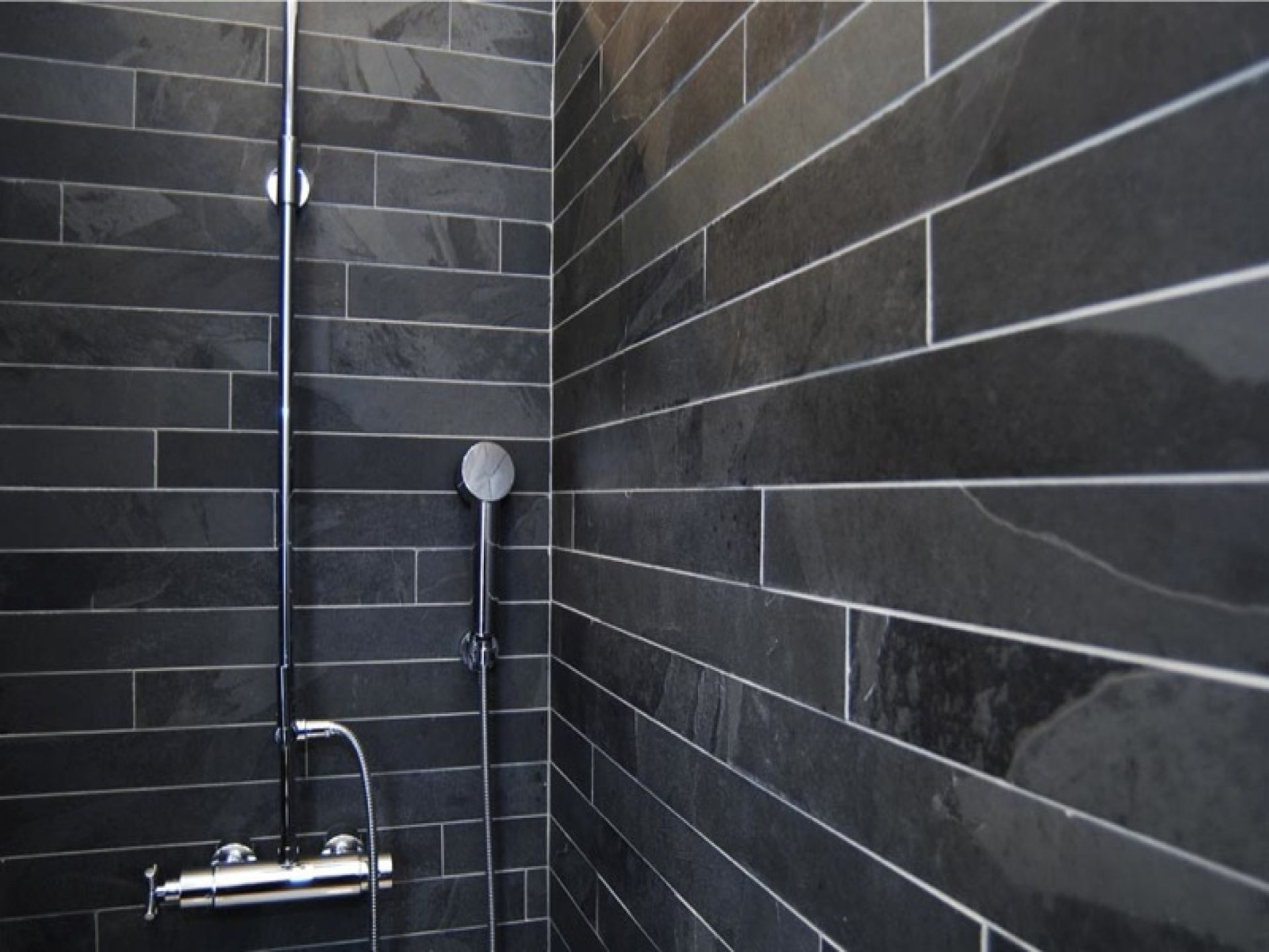 Slate bathroom shower designs - Home Design And Interior Design Gallery Of Beautiful Bathroom Slatestone Strip Cladding Black Slate Strip Tiles