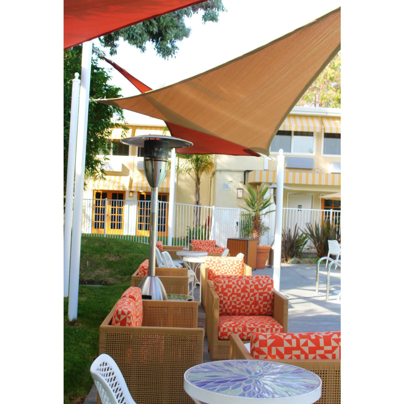Cool Spots Our Covered Patio Lounge Has The Perfect Amount Of Shade Palms Hotel California Hotel Patio Lounge