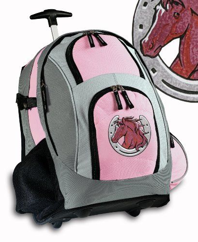 96ae0d2e92ca Horse Theme Rolling Backpack Deluxe Horse design - Backpacks Bags with  Wheels or School Trolley Bags - Unique Horses Gifts - CUTE! Broad Bay.   63.99.
