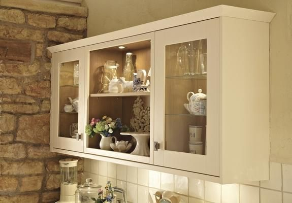 Open Wall Unit And Full Height Glass Wall Units With Internal Glass Shelves
