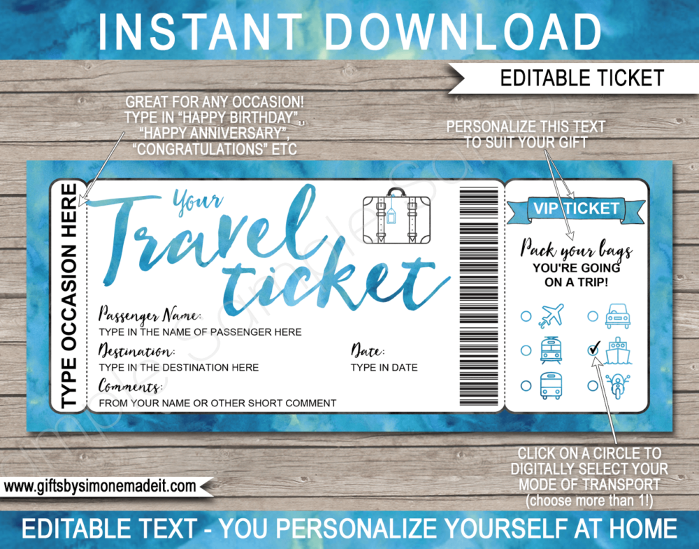 Printable Travel Ticket Gift Template Surprise Vacation Reveal Surprise Vacation Surprise Vacation Reveal Travel Tickets
