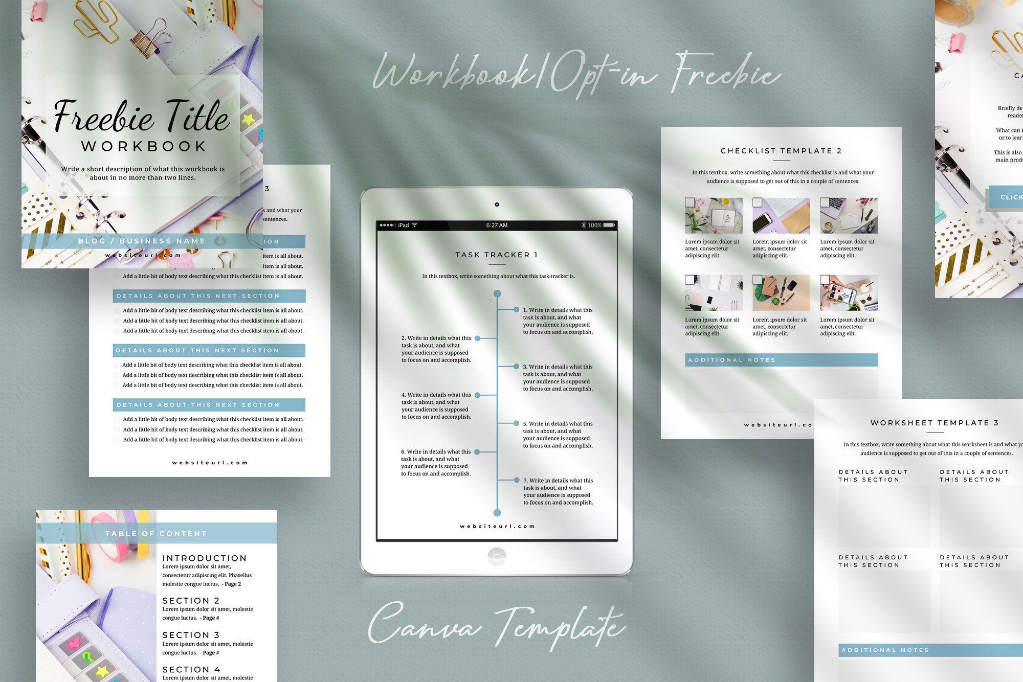 COLFAX Workbook Template, Workbook Canva Template
