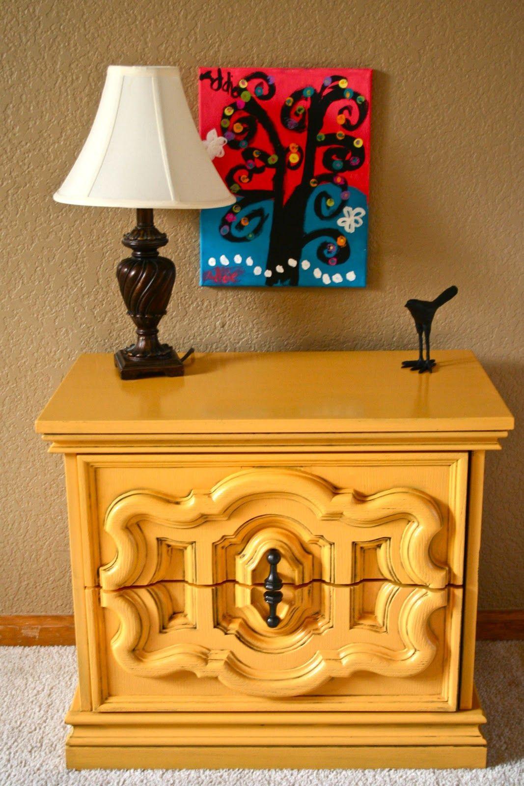 Krylon Bauhaus Gold retro nightstand with glaze Painted