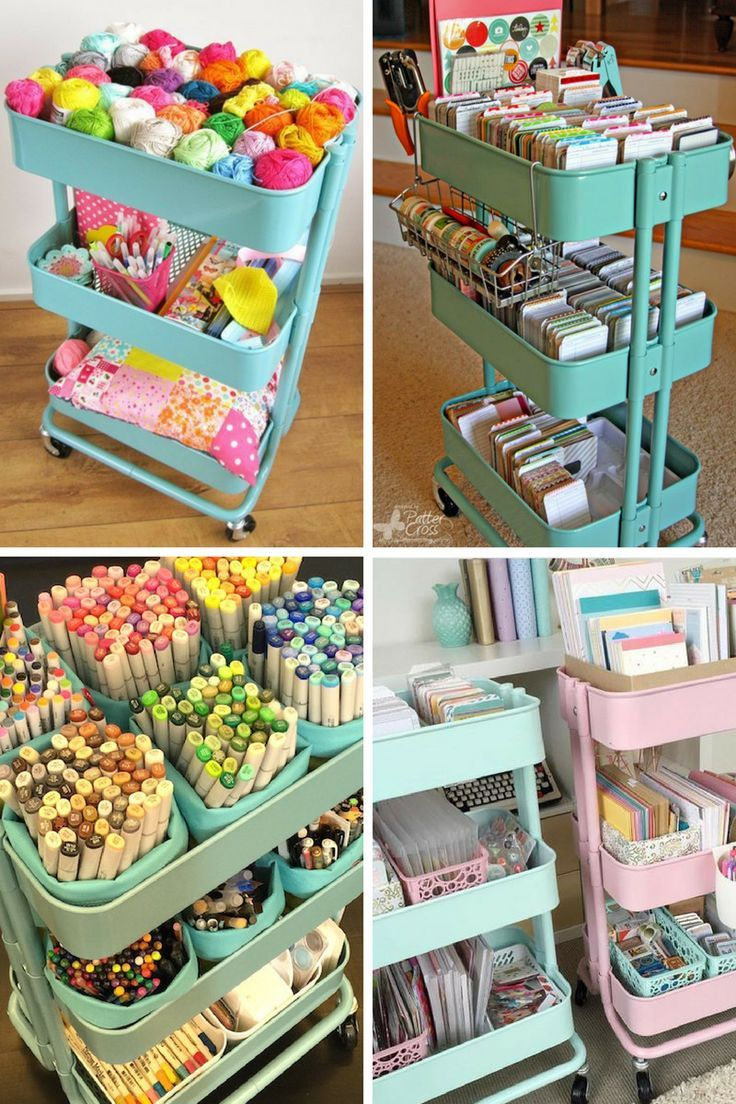 25+ must-see hacks for using IKEA Raskog carts in your home. Organize your craft supplies, make a mobile cleaning station, create a homeschool or kids crafts cart, keep your makeup and beauty supplies in your Raskog, and more incredibly unique ideas for organizing your home with the original IKEA Raskog cart #SmartFunDIy #Raskog #Ikeacraftsrooms #ikea #organizing #cleaning #home #DIY