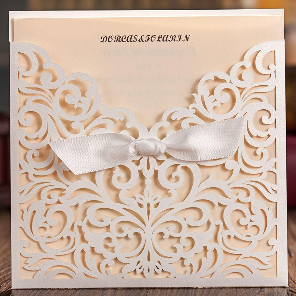 Delicate Laser Cut Wedding Invitation with Embossed Flora Free ...