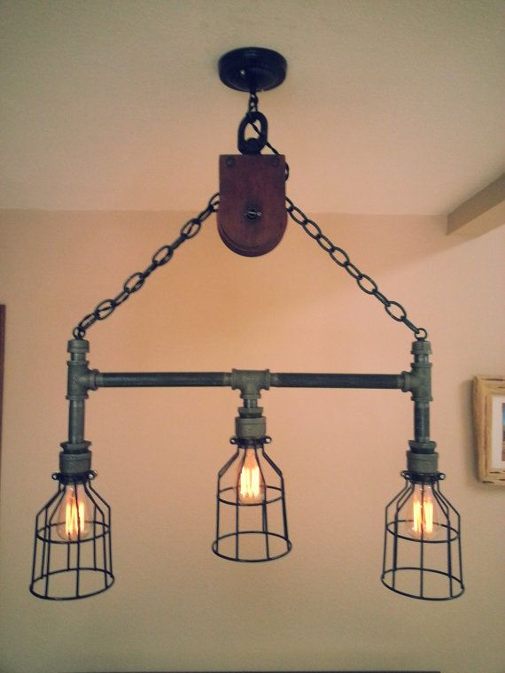 Hanging Industrial Pipe Pulley Light With 3 Edison Bulbs
