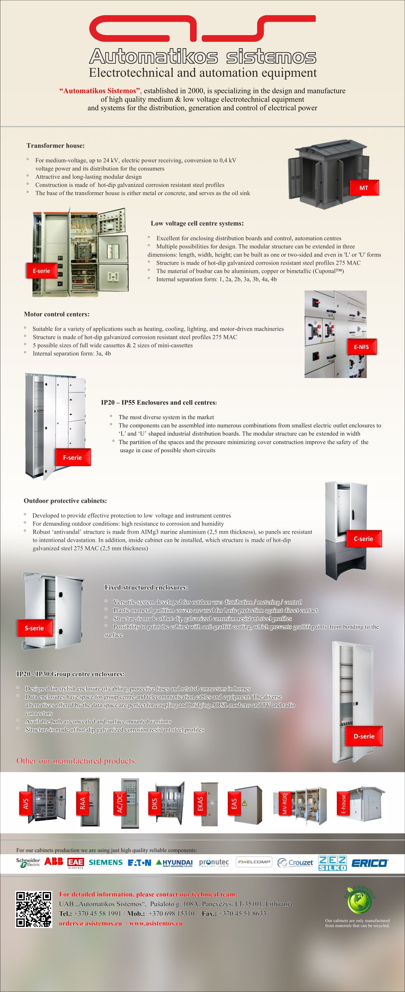 Low And Medium Voltage Electrotechnical And Automation Equipment Production Design Work Orders Asistemos Lt Www Asistem Design Working Automation Design