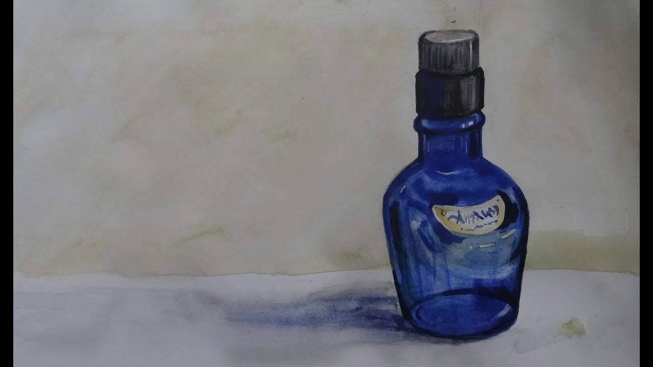 Object Drawing Bottle Learn Step By Step With Water Colour