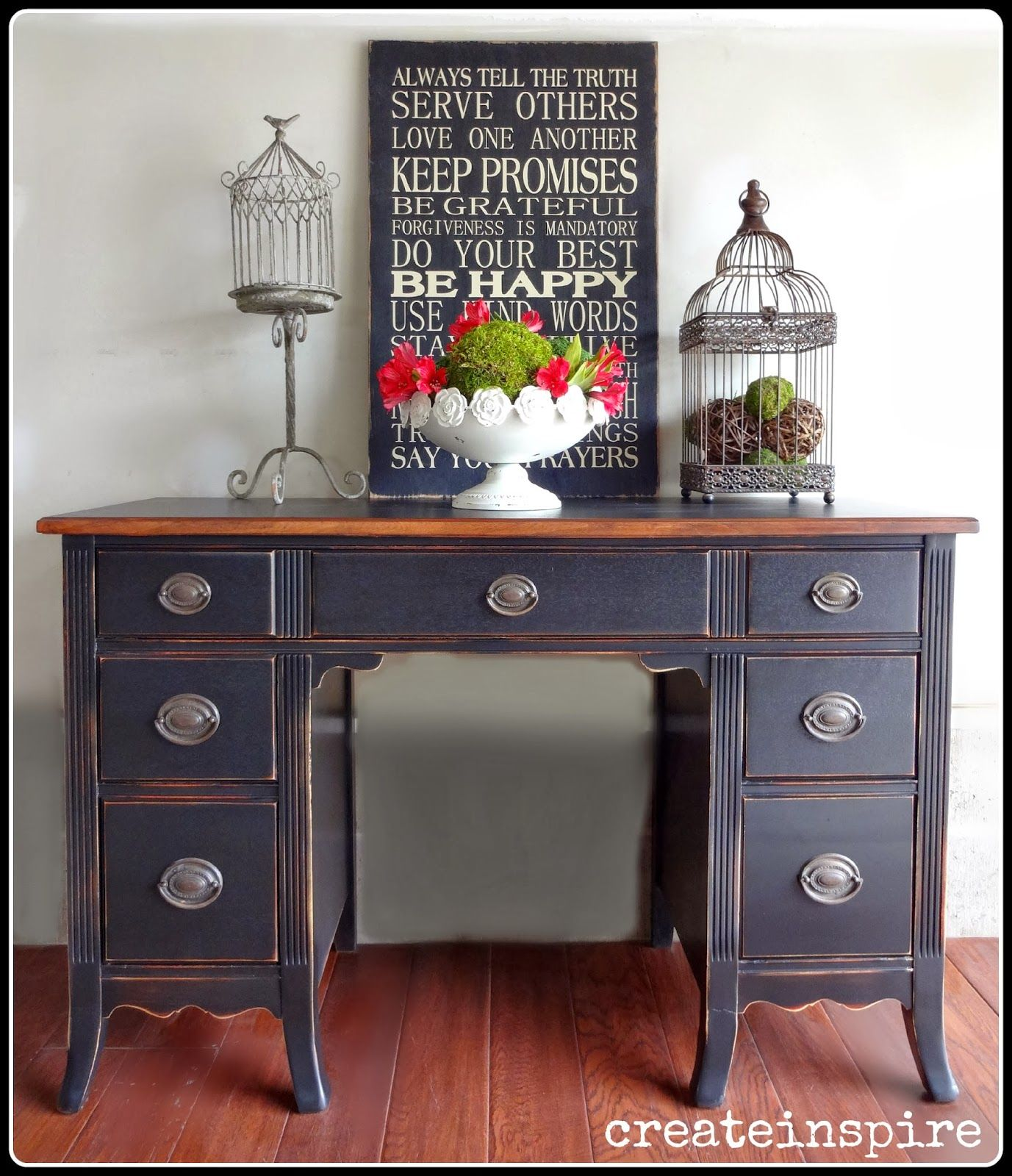 Createinspire Antique Black Desk With Painted Top And Stained