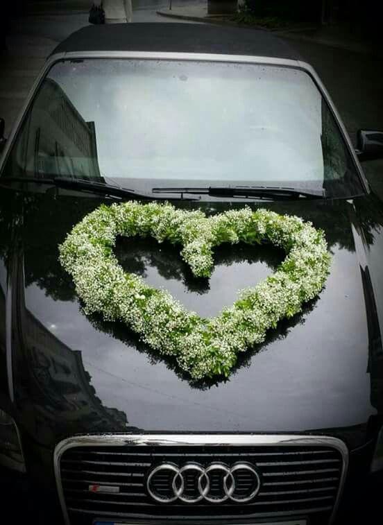 Schleierkrautherz  Autodekoration  Hochzeitsauto Autoschmuck hochzeit und Hochzeit auto