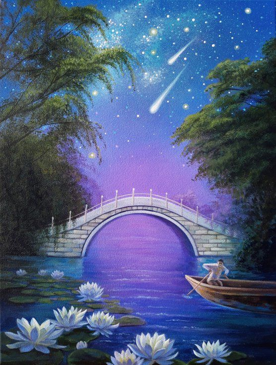 The Mystery Of The Night Landscape Art Night Sky Painting 2020 Acrylic Painting By Anna Steshenko In 2020 Night Sky Painting Landscape Art Painting Sky Painting