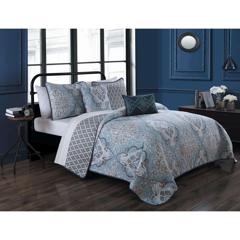 avondale manor portofino 5 piece polyester microfiber damask quilt rh in pinterest com
