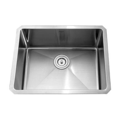 KRAUS All-in-One Undermount Stainless Steel 23x18x15 0-Hole Single Bowl Kitchen Sink and Faucet Set in Satin Nickel-KHU101-23-KPF1622-KSD30S...