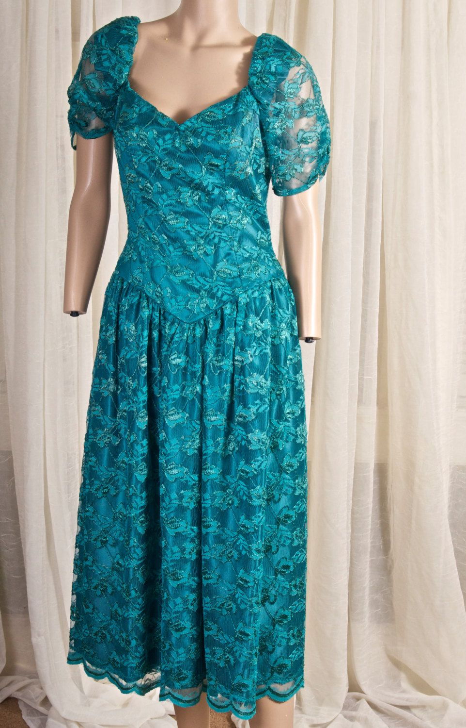 1980s Misses formal Tea length dress. Bridesmaid. Teal, green ...