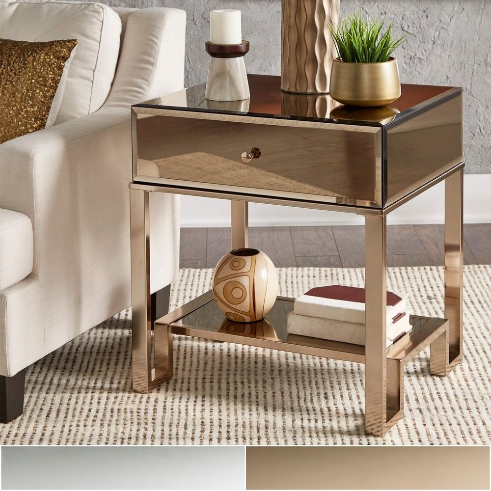 Akiko Mirrored 1-Drawer End Table by INSPIRE Q