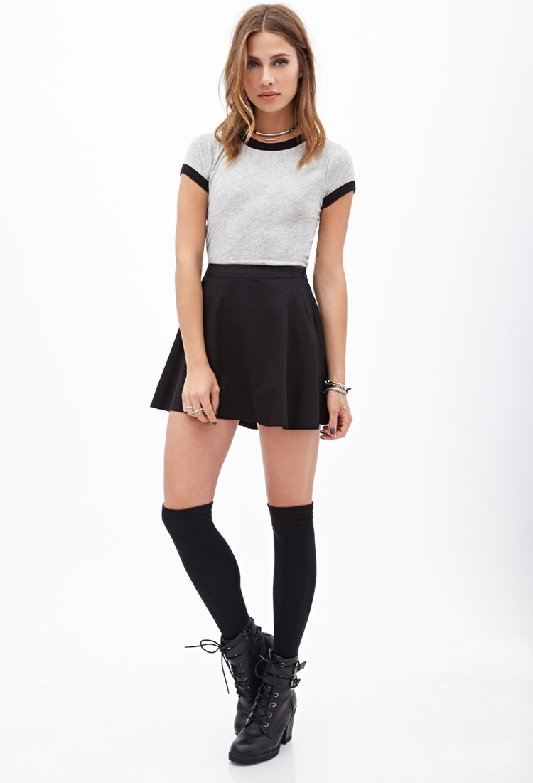 sporty combat boots black skater skirt black thigh