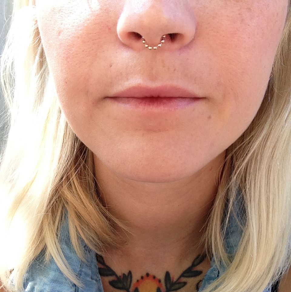Retainer for nose piercing  The  beaded septum chain is designed to be subtle and delicate
