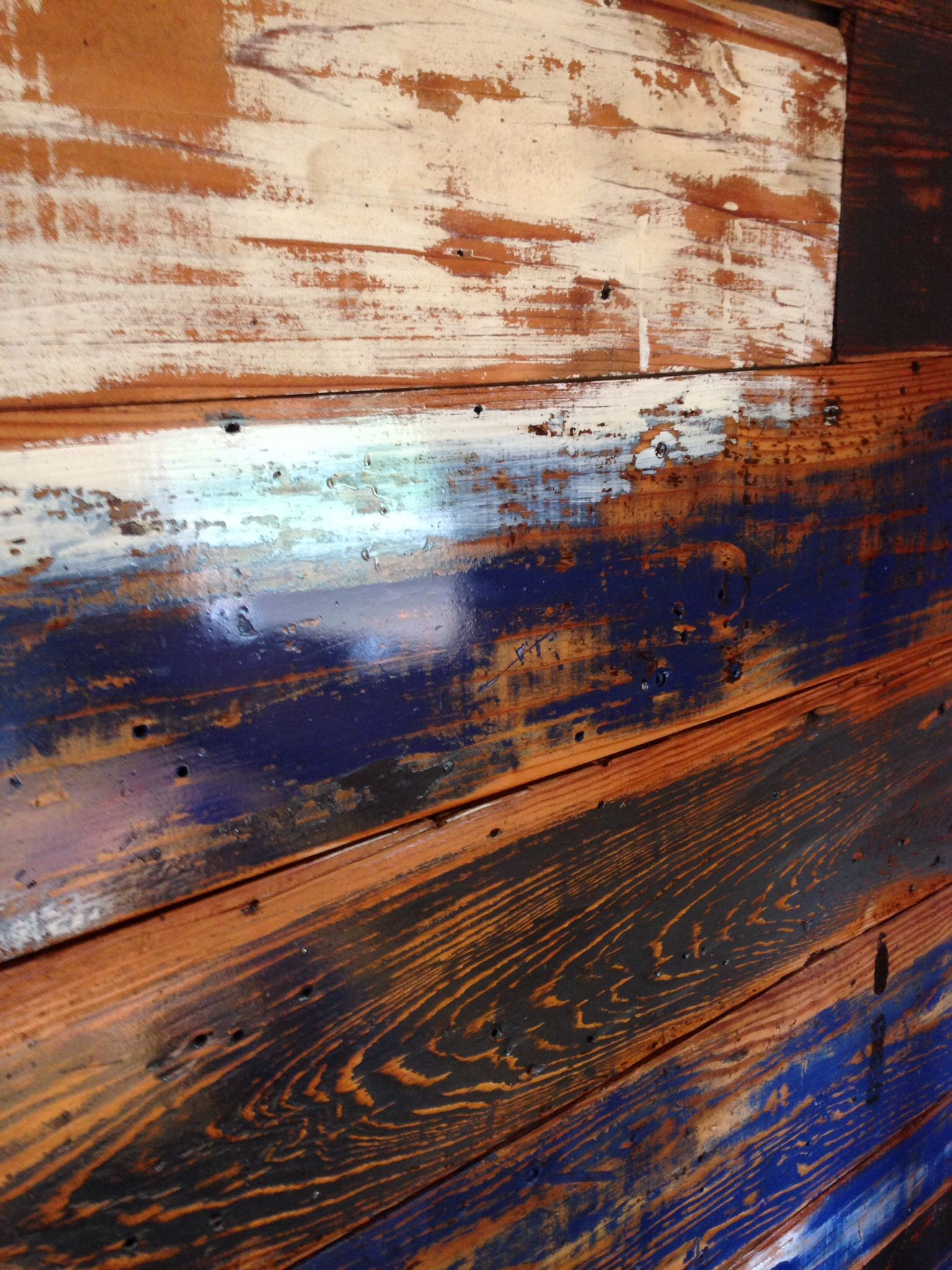 The wall in my Airstream  90 year old shiplap, painted
