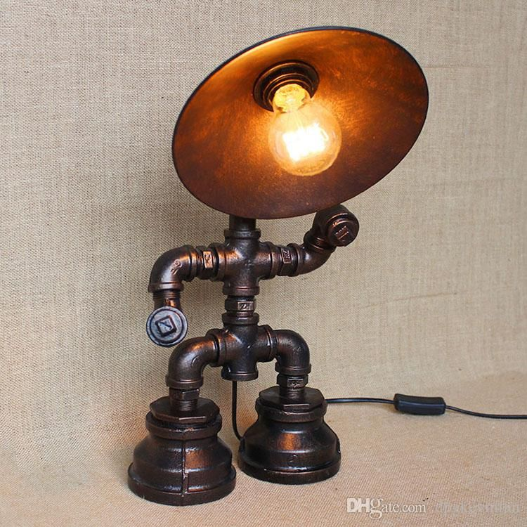 Vintage water table lamps water pipe table lamp edison for How to make a pipe lamp
