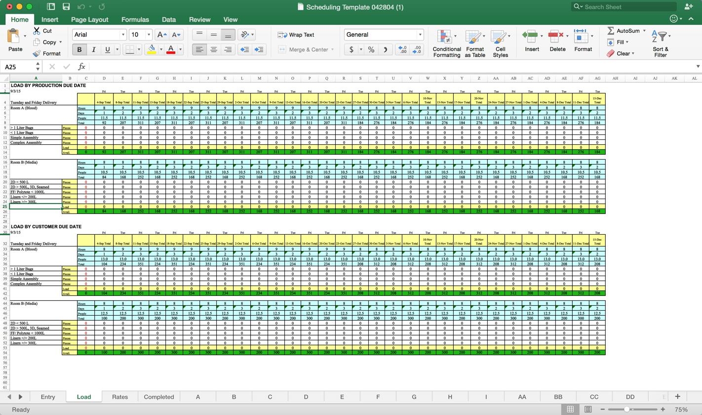 Resource Planning Spreadsheet Capacity Templatel Download