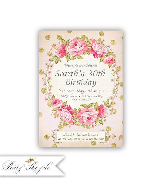 Pink And Gold 30th Birthday Invitations For Her Surprise Party Dinner Brunch Or Lunch Digital Printed Invites