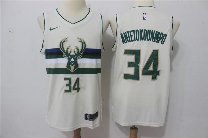 Men Milwaukee Bucks Giannis Antetokounmpo Jersey Cream The City Authentic Player With Images Jersey Milwaukee Bucks Michael Jordan Jersey