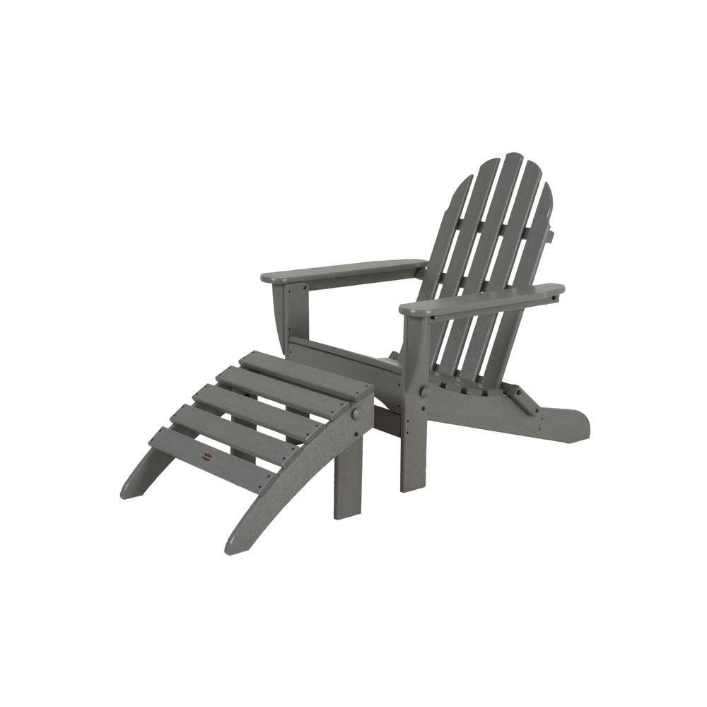 Polywood Classic Slate Grey Plastic Patio Adirondack Chair Pws136