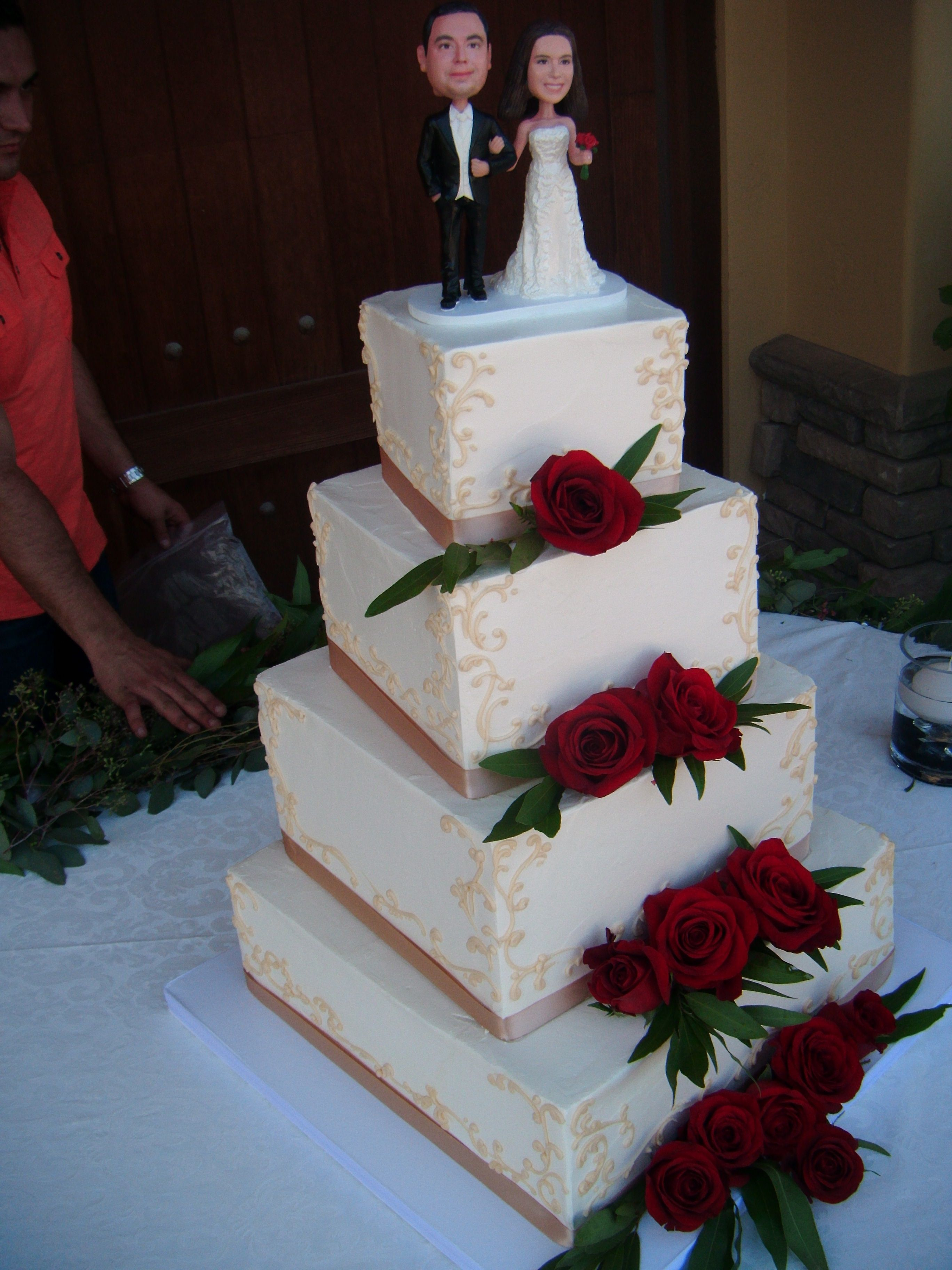 Wedding cake with red roses wedding cakes pinterest red roses