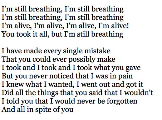 Sia - Alive  Lyrics that no one but me will never know how