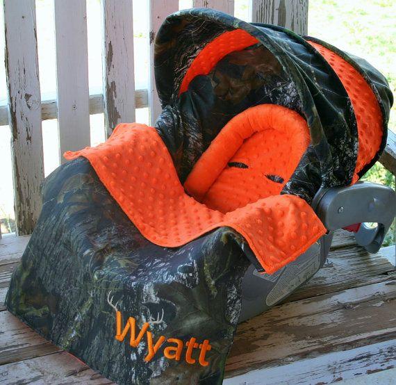 Mossy Oak Camo w/ orange minky Car seat cover by SqueakyBugBabies