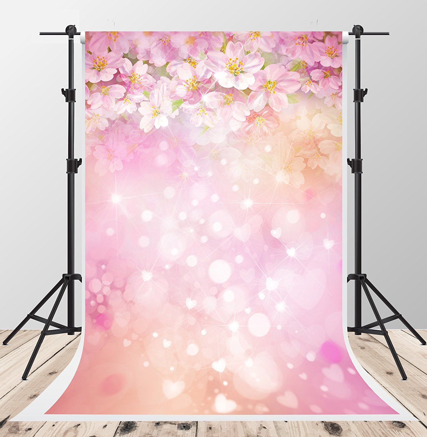 Brick Floor House Pink Flowers Photography Backdrops Photo Props Studio Background 5x7ft