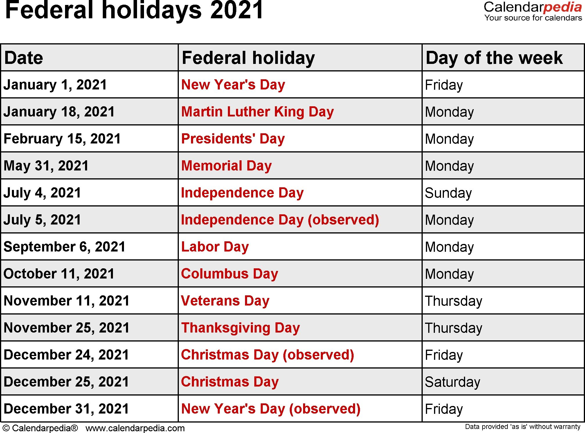 Federal Holidays 2021 Dowload | National day calendar, Holiday