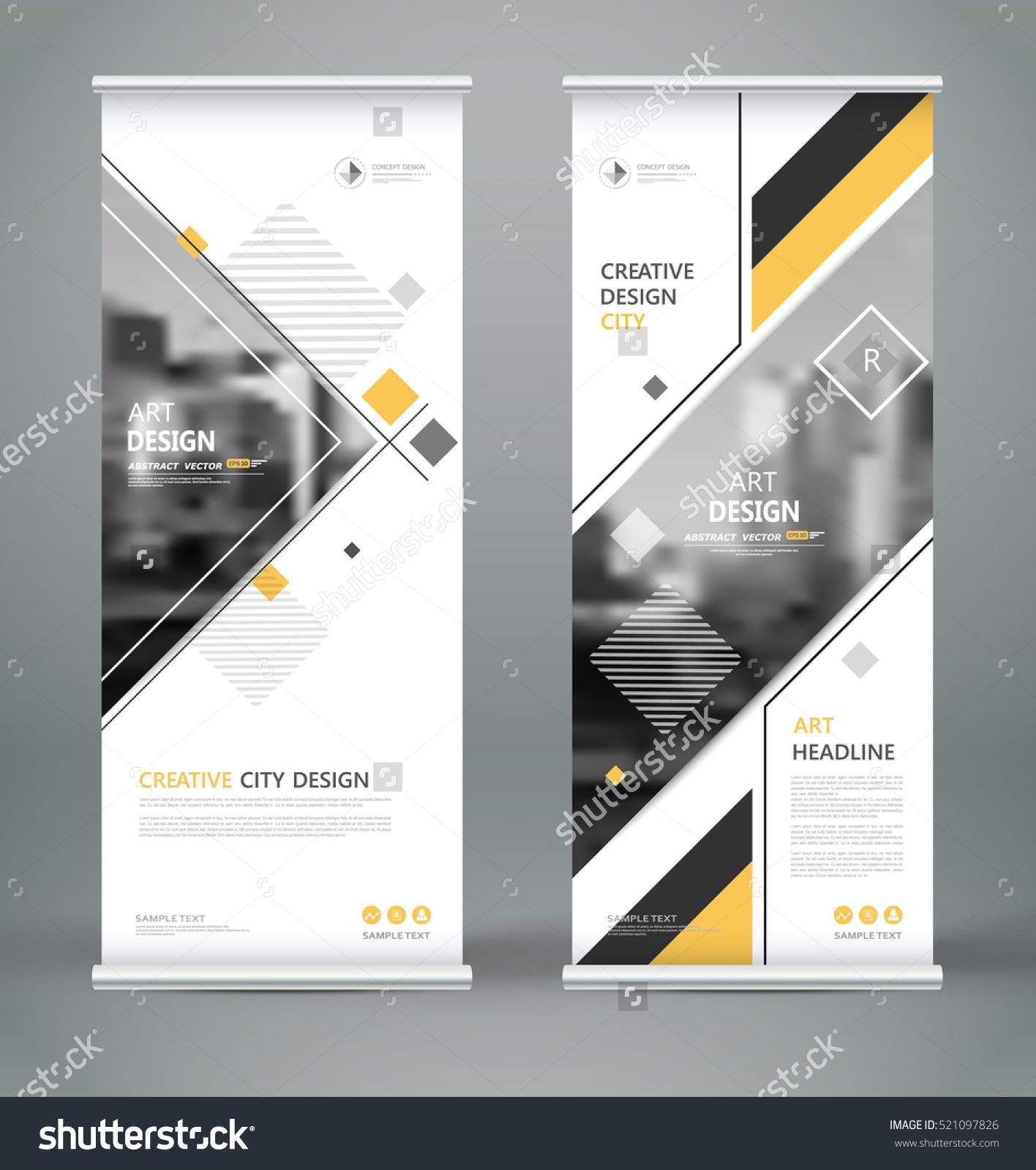 5492e4da2 Info banner frame. Text font. Title sheet model set. Modern vector front  page. City view brand flag. Triangle figures icon. Ad flyer fiber