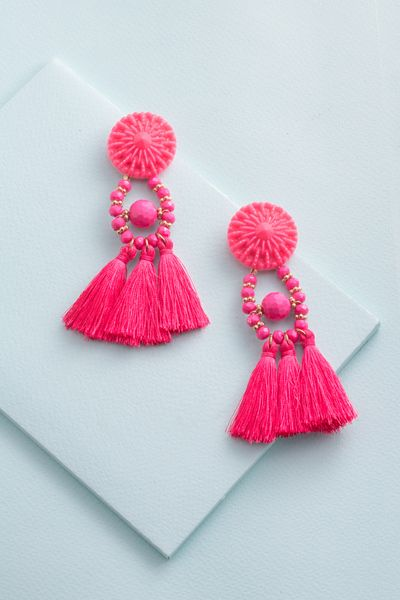 5df84f3d3 Zoya Tassel Earrings | Hot Pink $12 | Diy | Tassel earrings ...
