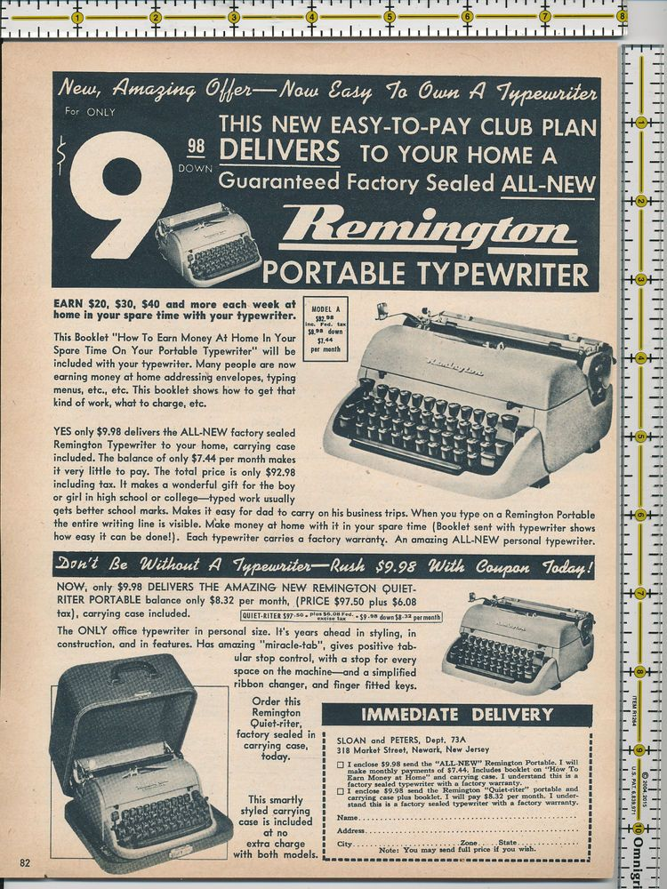Remington Portable Typewriter Sloan and Peters 1953 magazine print ad