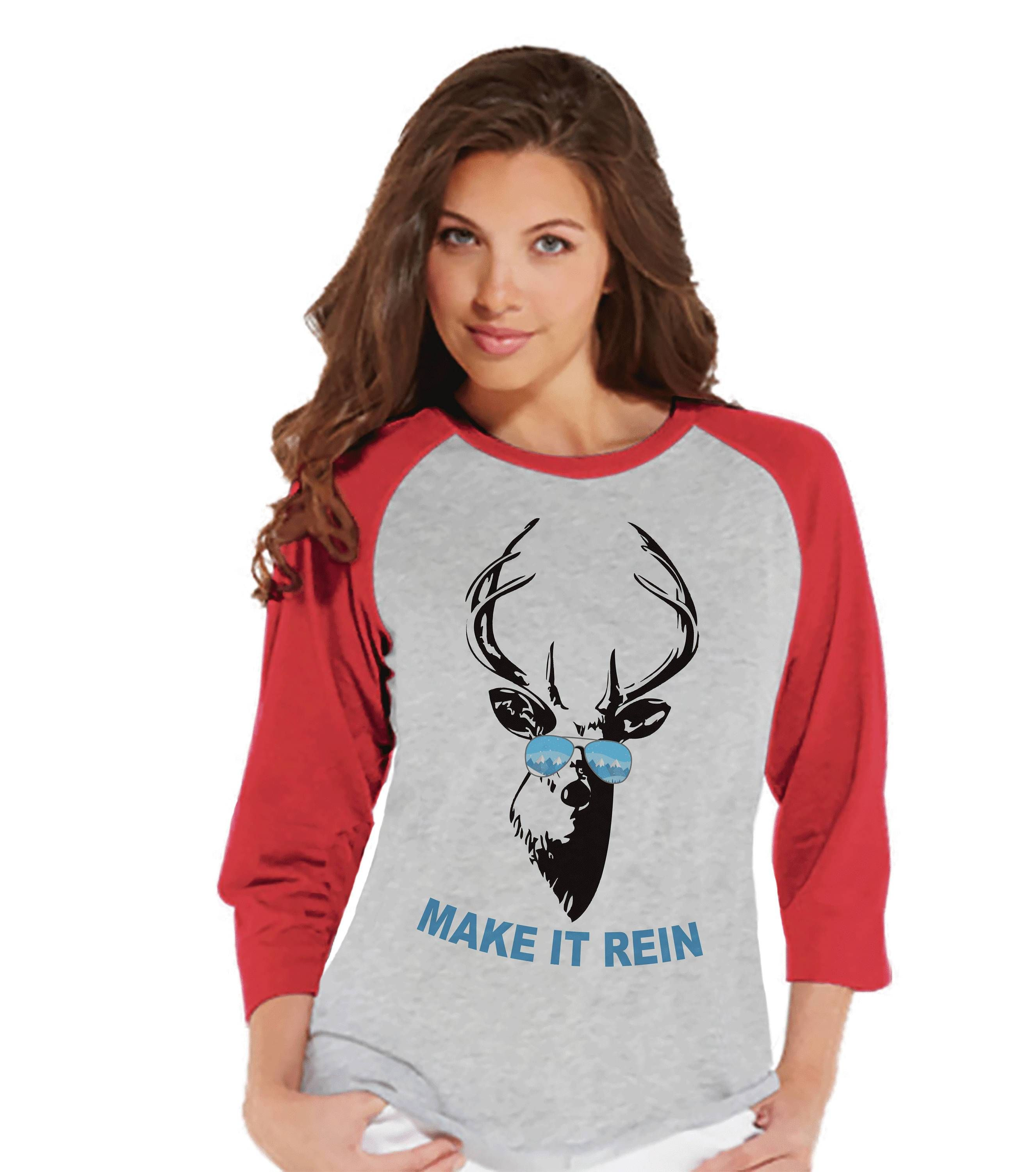 womens christmas shirt make it rein shirt funny christmas reindeer shirt red raglan