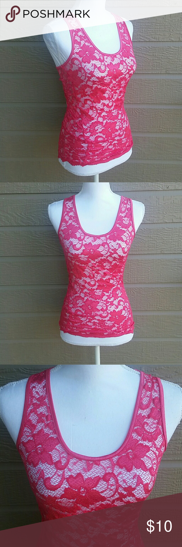 ❤5/$25❤ Buckle BKE hot pink lace tank top M Buckle BKE hot pink stretchy lace tank top in size MEDIUM. In good condition. Bundle for a discount or make an offer! BKE Tops Tank Tops