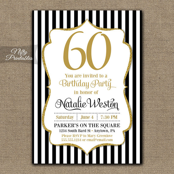 Th Birthday Invitations Black Gold Glitter Bday Invites - Invitations for 60th birthday party templates