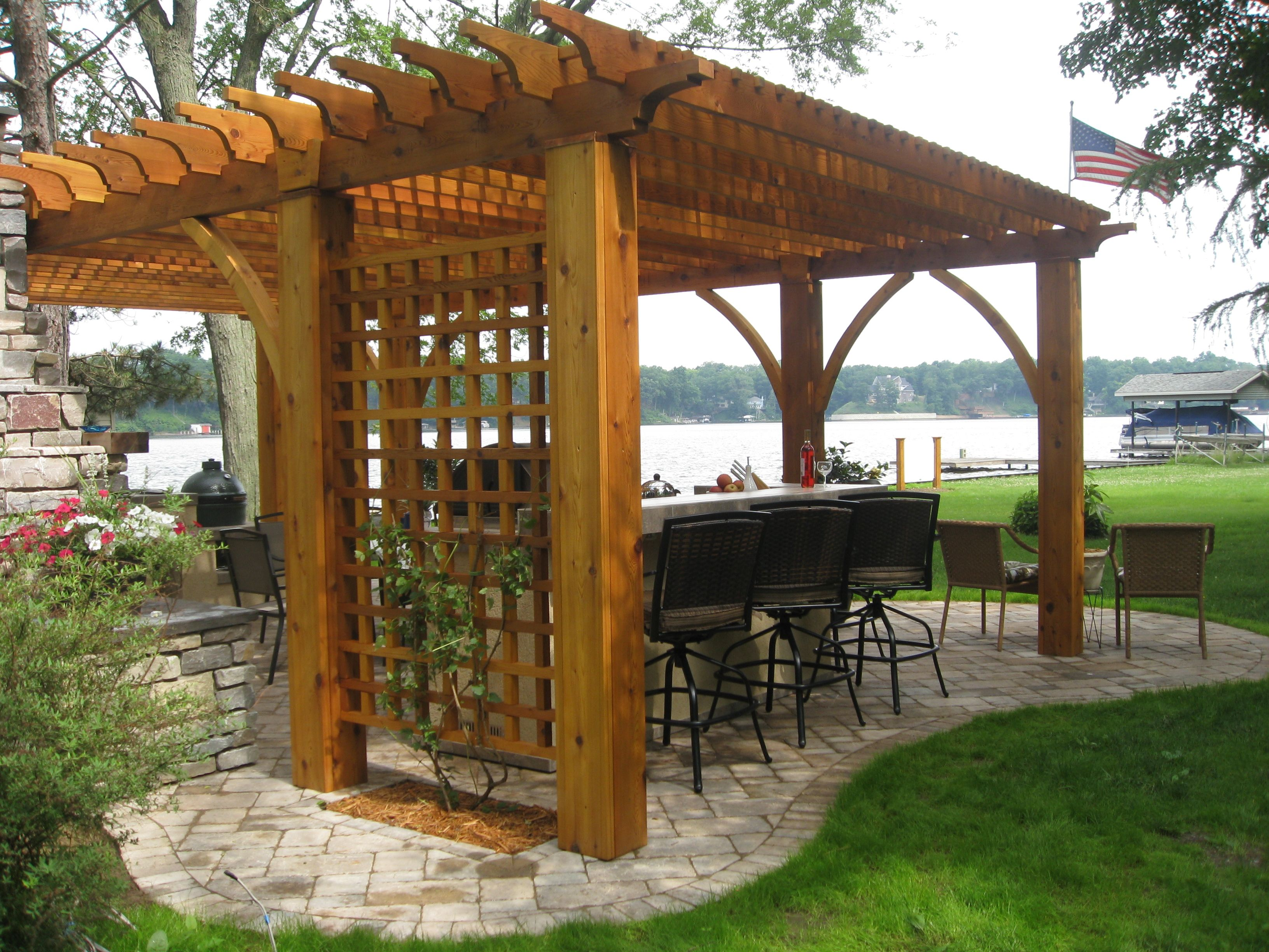Pergola with siding for vertical gardening not organic patio shape