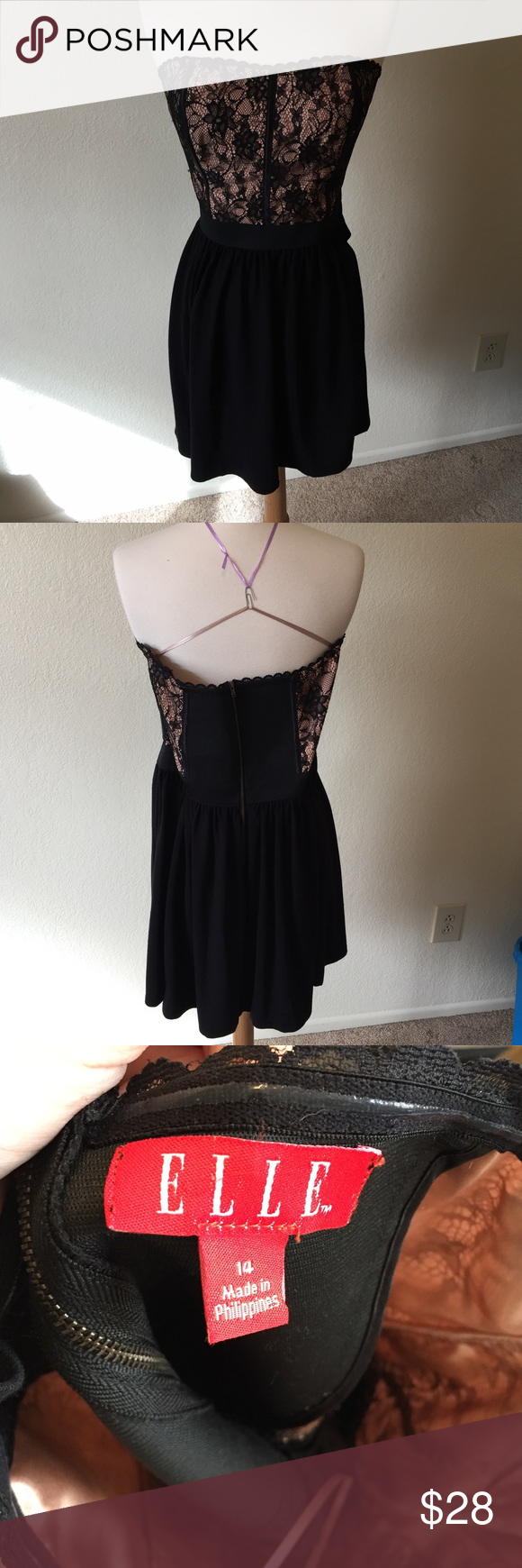 Elle Lace Dress (5) Gorgeous black and pink dress with lace and boned bust. Tag size 14. Gently worn but no flaws. Elle Dresses Mini