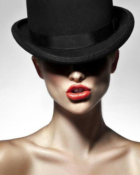 Black Hat Red Lips Black And White Photography Classic