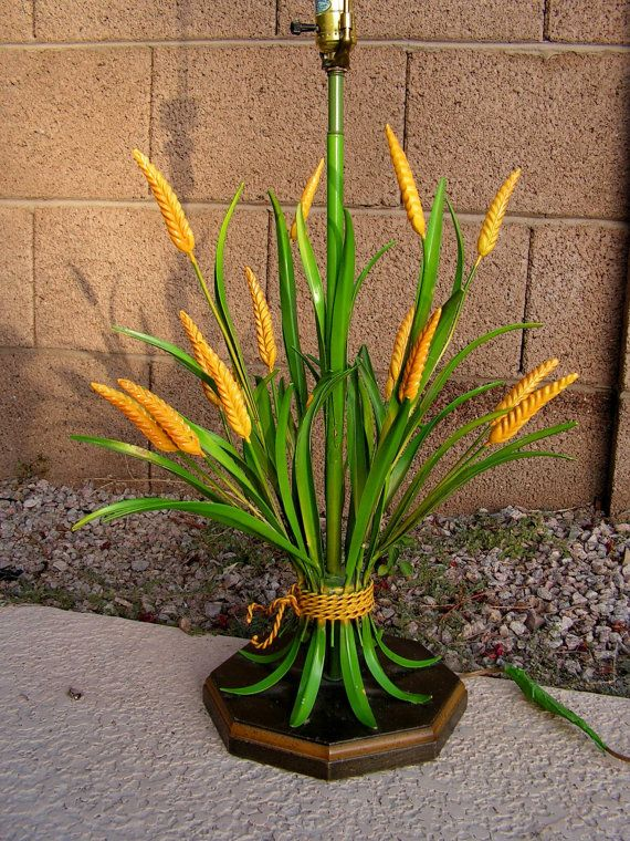 Midcentury Wheat Sheaf Lamp Green Yellow Tole Painted Metal Etsy Flower Sculptures Metallic Paint Light Decorations
