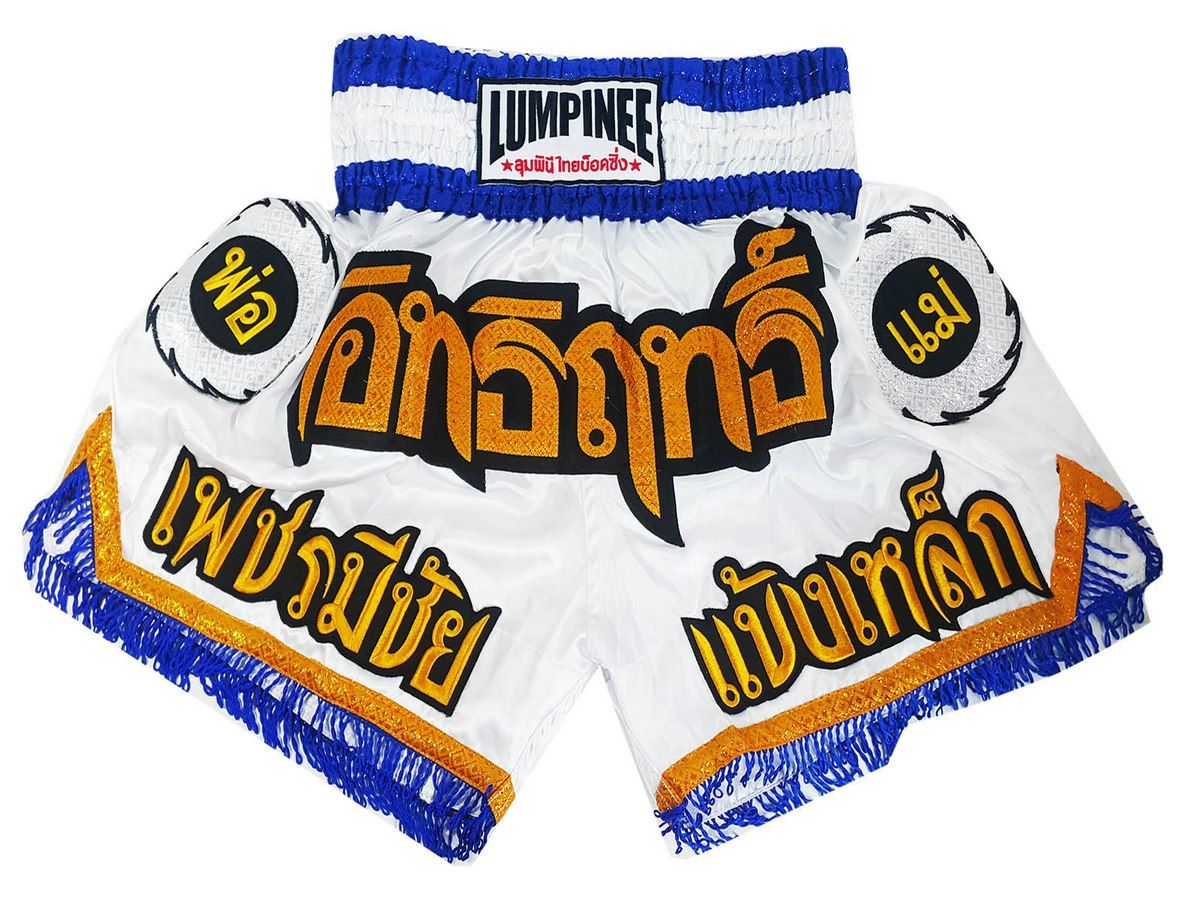 Clearance SALE Muay Thai Kick Boxing Shorts Blue original logoes style MMA