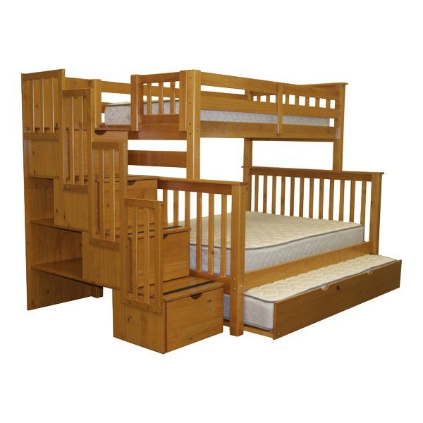 solid wood stairway twin over full brazilian pine bunk beds with twin trundle for added storage