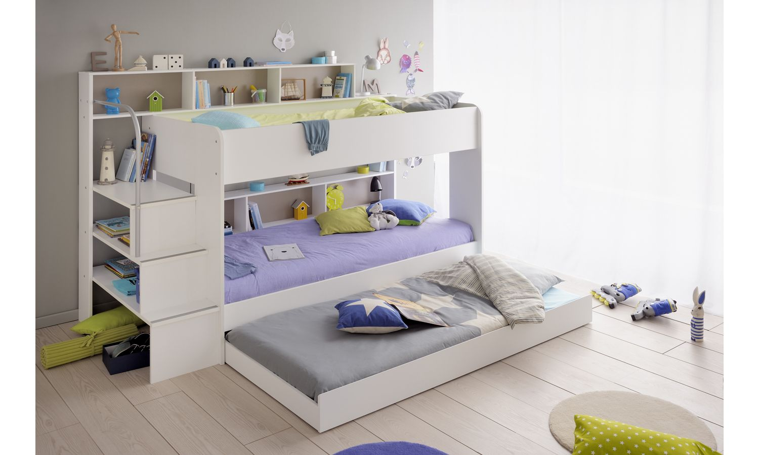 White Bibop 2 Bunk Bed With Images White Wooden Bunk Beds
