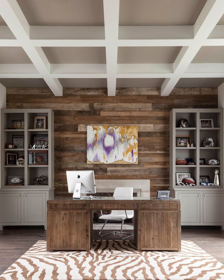 Transitional Nursery With Rustic Wood Wall: 23 Beautiful Transitional Home Office Designs