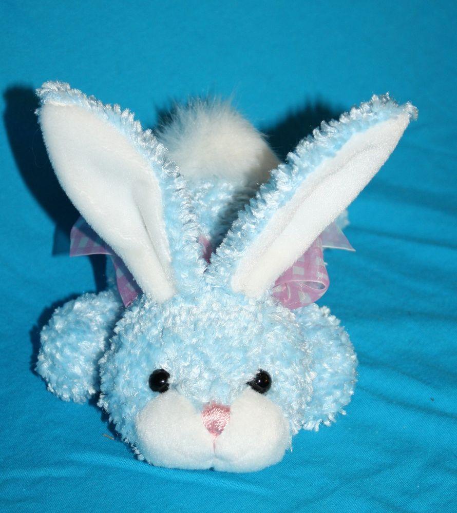 Walmart Blue Bunny Rabbit Easter Plush Stuffed Animal Pink Check